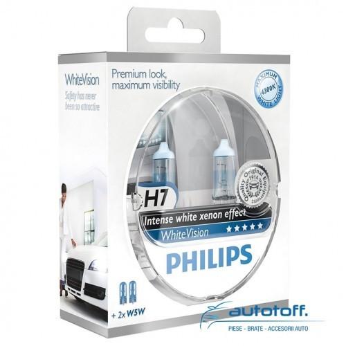 Becuri H7 Philips White Vision 12972WHVSM XVS2